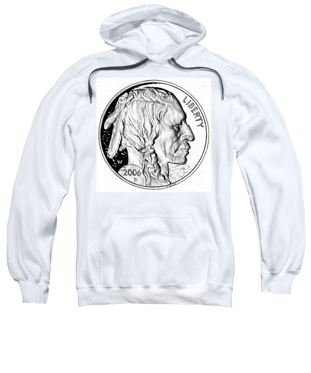 United States Mint Sweatshirt featuring the drawing Buffalo Nickel by Fred Larucci