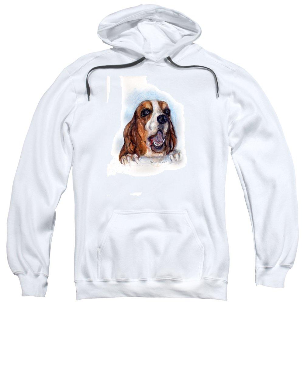 Basset Hound Sweatshirt featuring the painting Buford by Olga Kaczmar