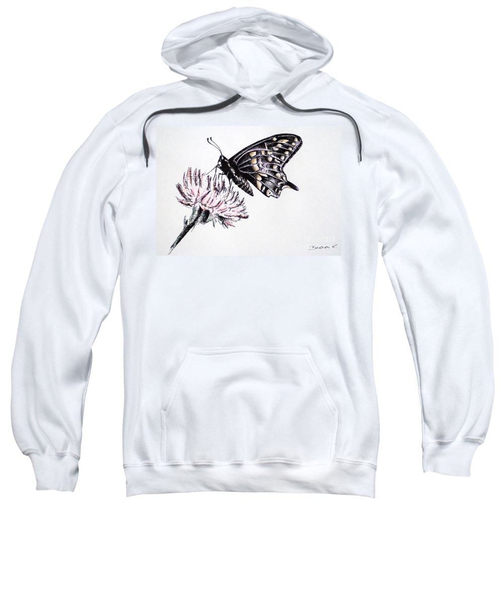 Butterfly Sweatshirt featuring the drawing Butterfly by Katharina Filus