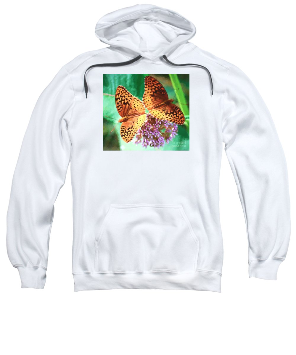 Great Spangled Fritillary Butterfly Sweatshirt featuring the photograph Butterfly Twins by Kerri Farley