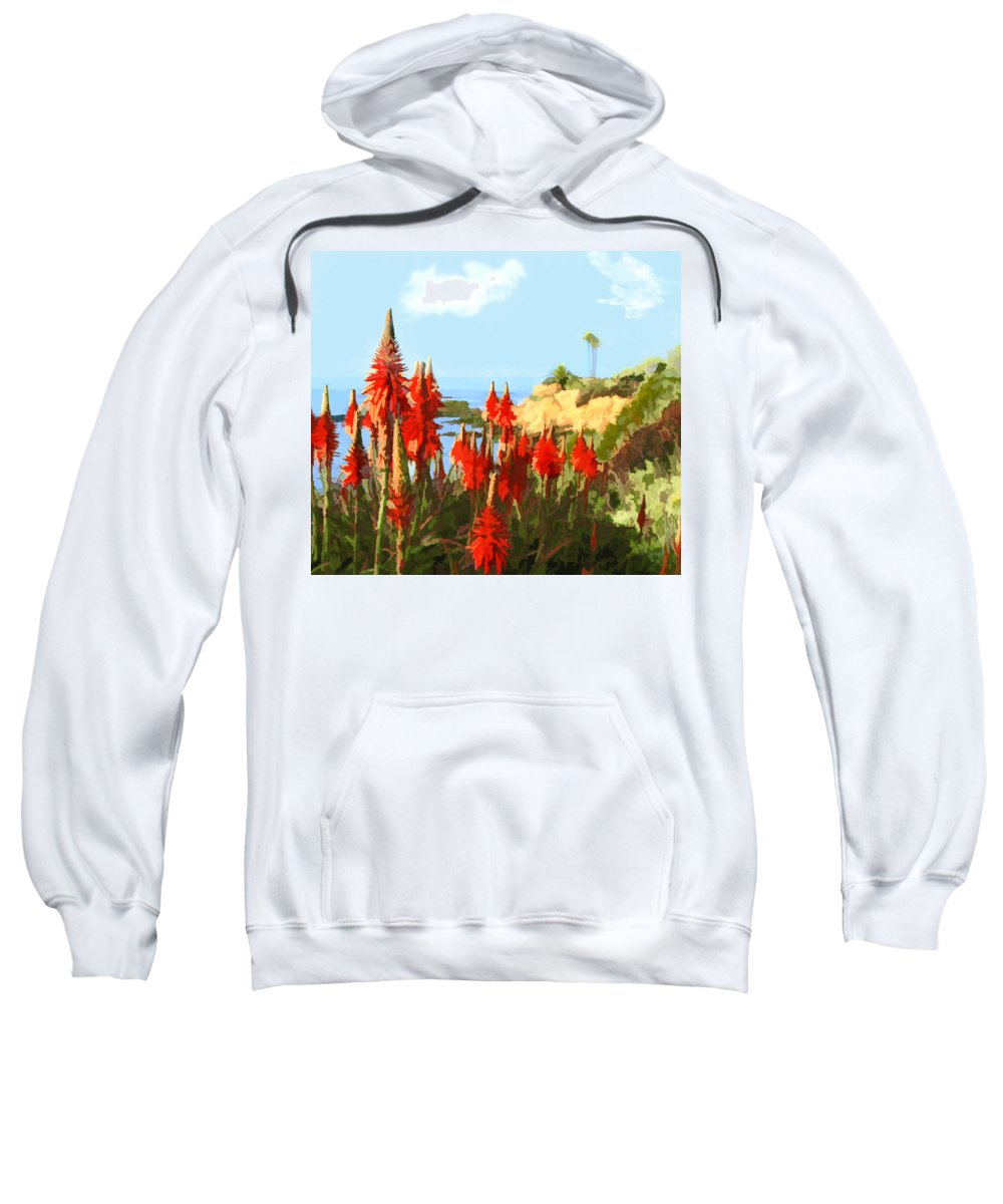 Ocean Sweatshirt featuring the painting California Coastline With Red Hot Poker Plants by Elaine Plesser