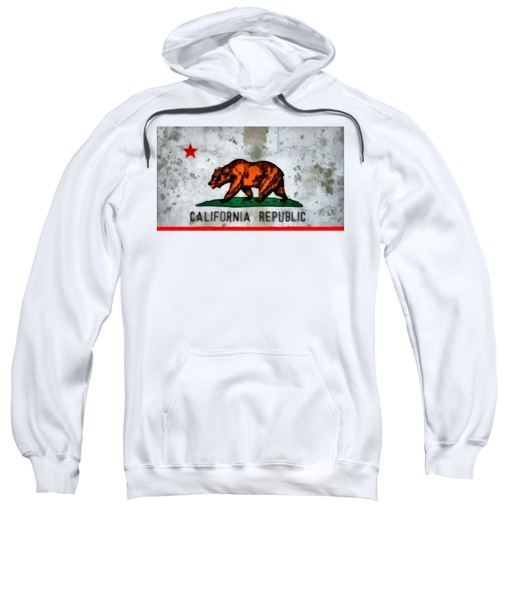 California State Flag Weathered And Worn Sweatshirt featuring the painting California State Flag Weathered And Worn by Dan Sproul