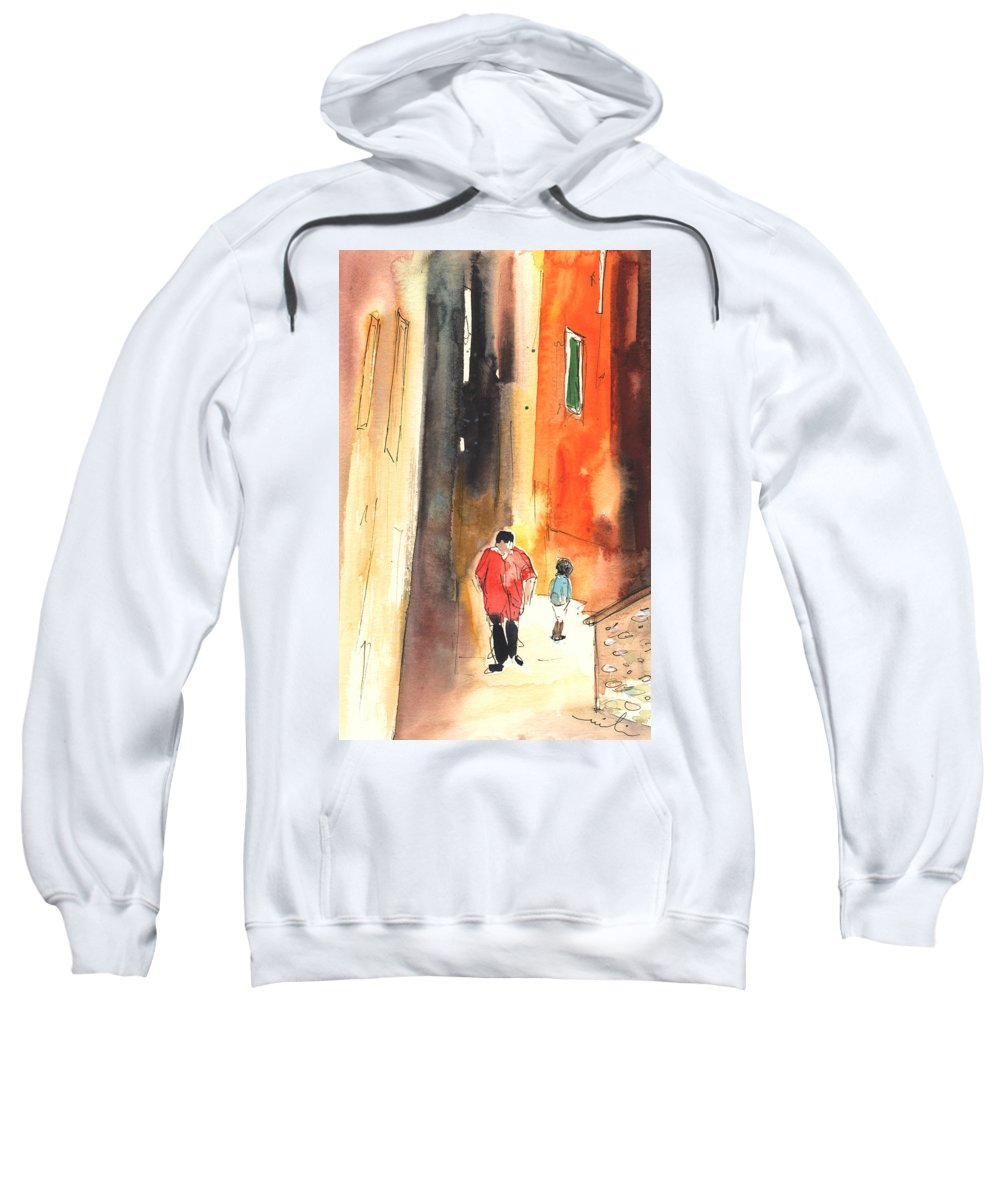 Italy Sweatshirt featuring the painting Camogli In Italy 07 by Miki De Goodaboom
