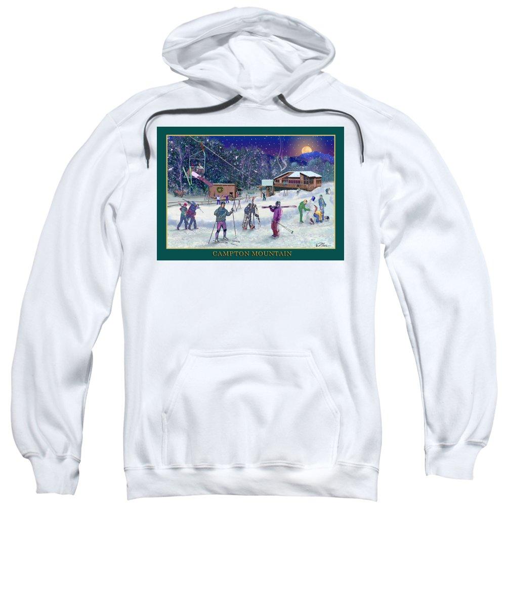Ski Sweatshirt featuring the digital art Campton Mountain Ski Area by Nancy Griswold