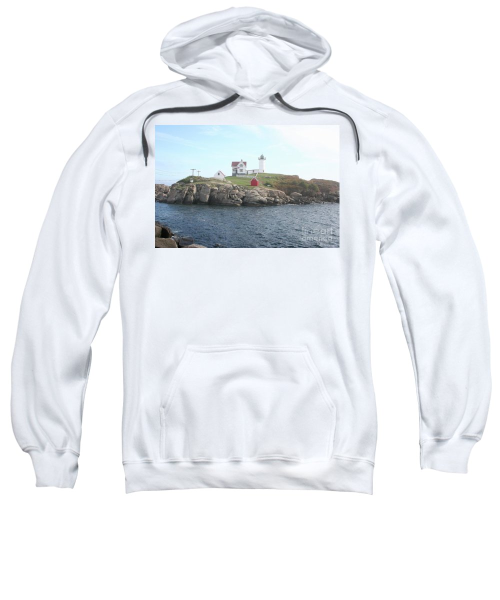 Cape Neddick Light Sweatshirt featuring the photograph Cape Neddick Light On A Misty Morning by Christiane Schulze Art And Photography