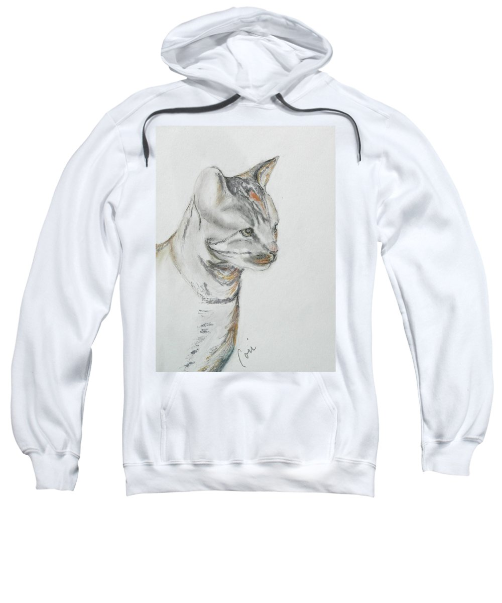 Colored Pencil Sweatshirt featuring the drawing Cappi by Cori Solomon
