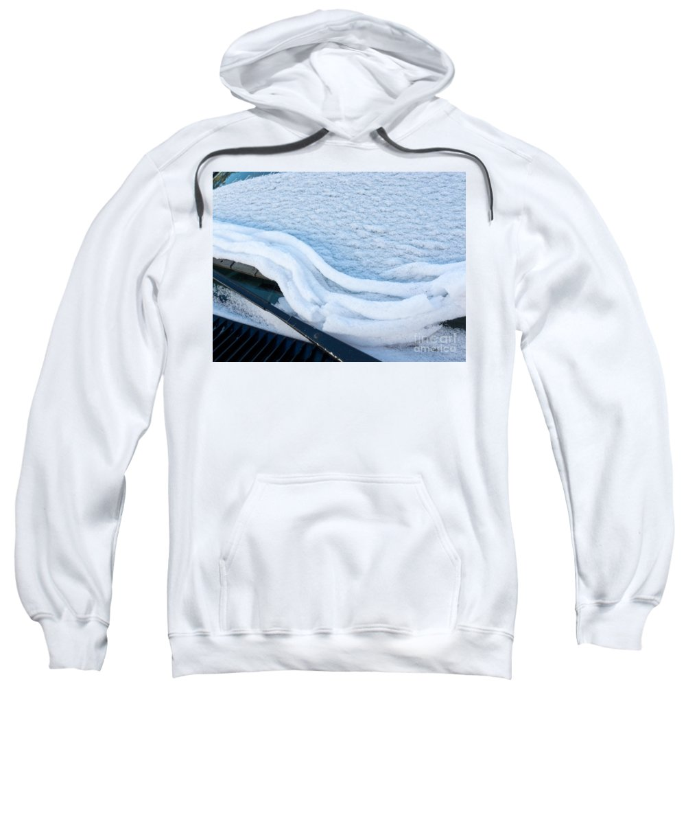 Automobile Sweatshirt featuring the photograph Car Windshield Freshly Fallen Snow Melting by Stephan Pietzko