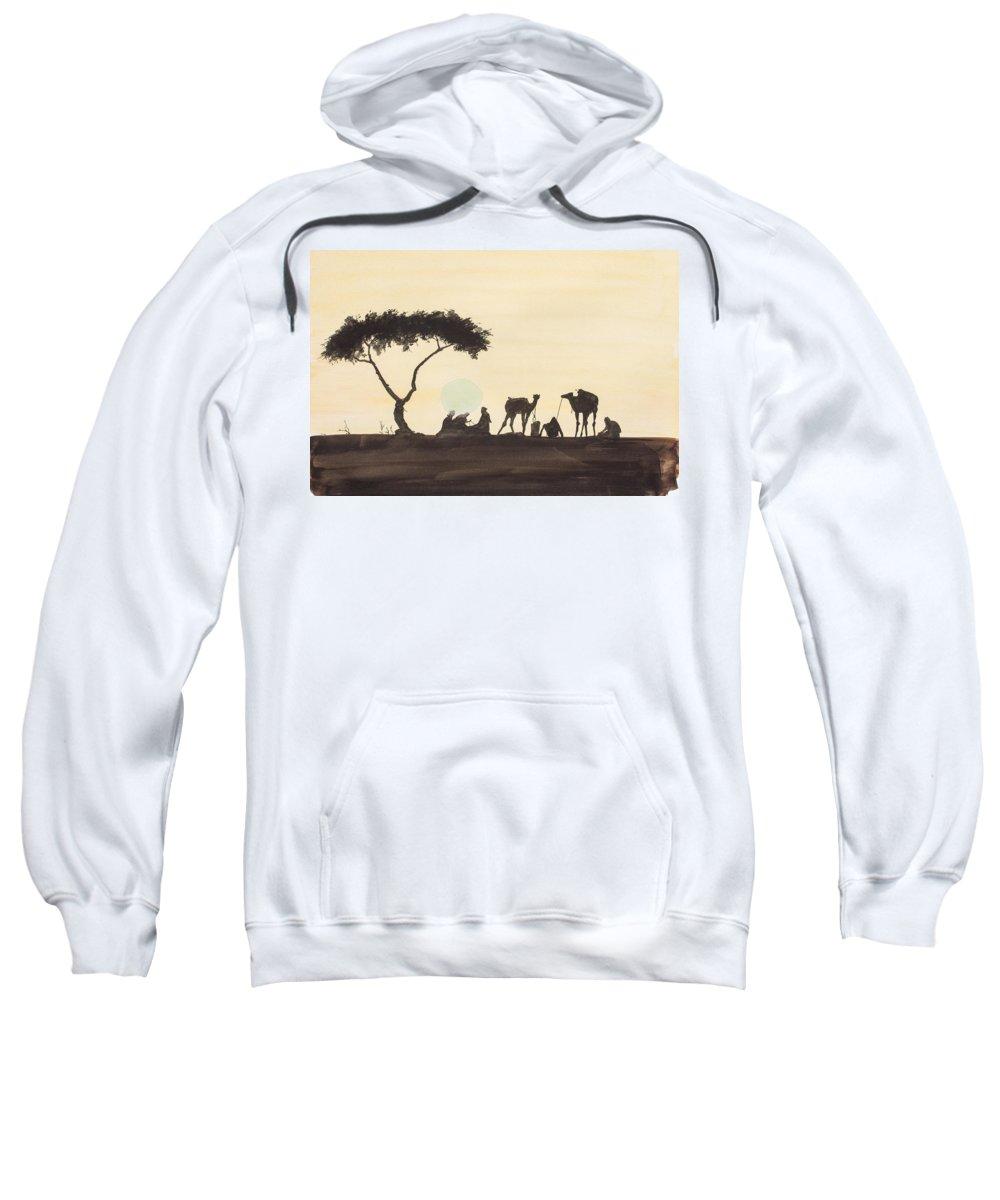 Caravan Sweatshirt featuring the painting Caravan Camp by J Darrell Hutto