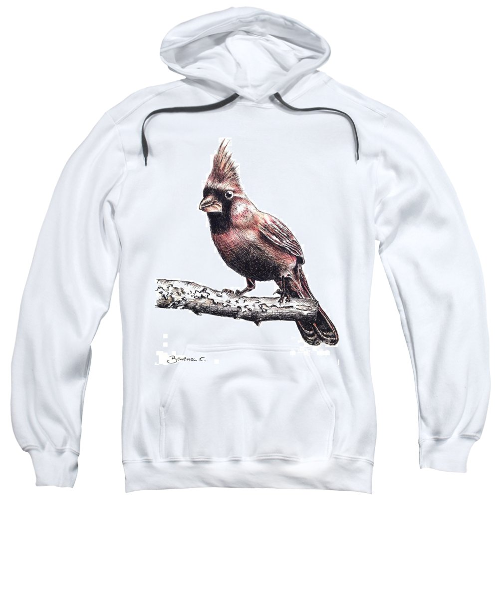 Ink Sketch Sweatshirt featuring the drawing Cardinal Male by Katharina Filus