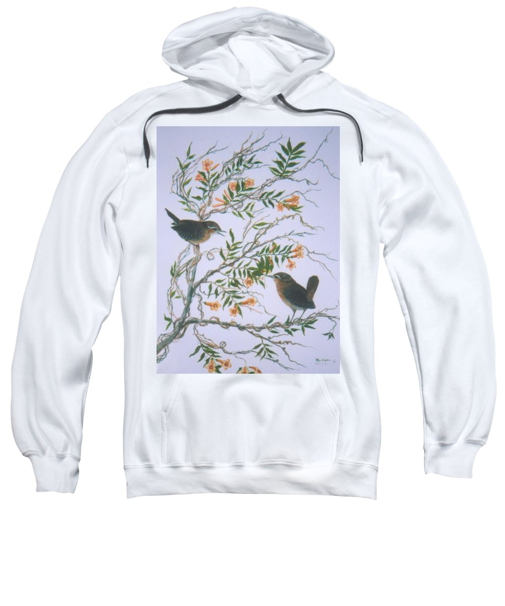 Bird; Flowers Sweatshirt featuring the painting Carolina Wren And Jasmine by Ben Kiger