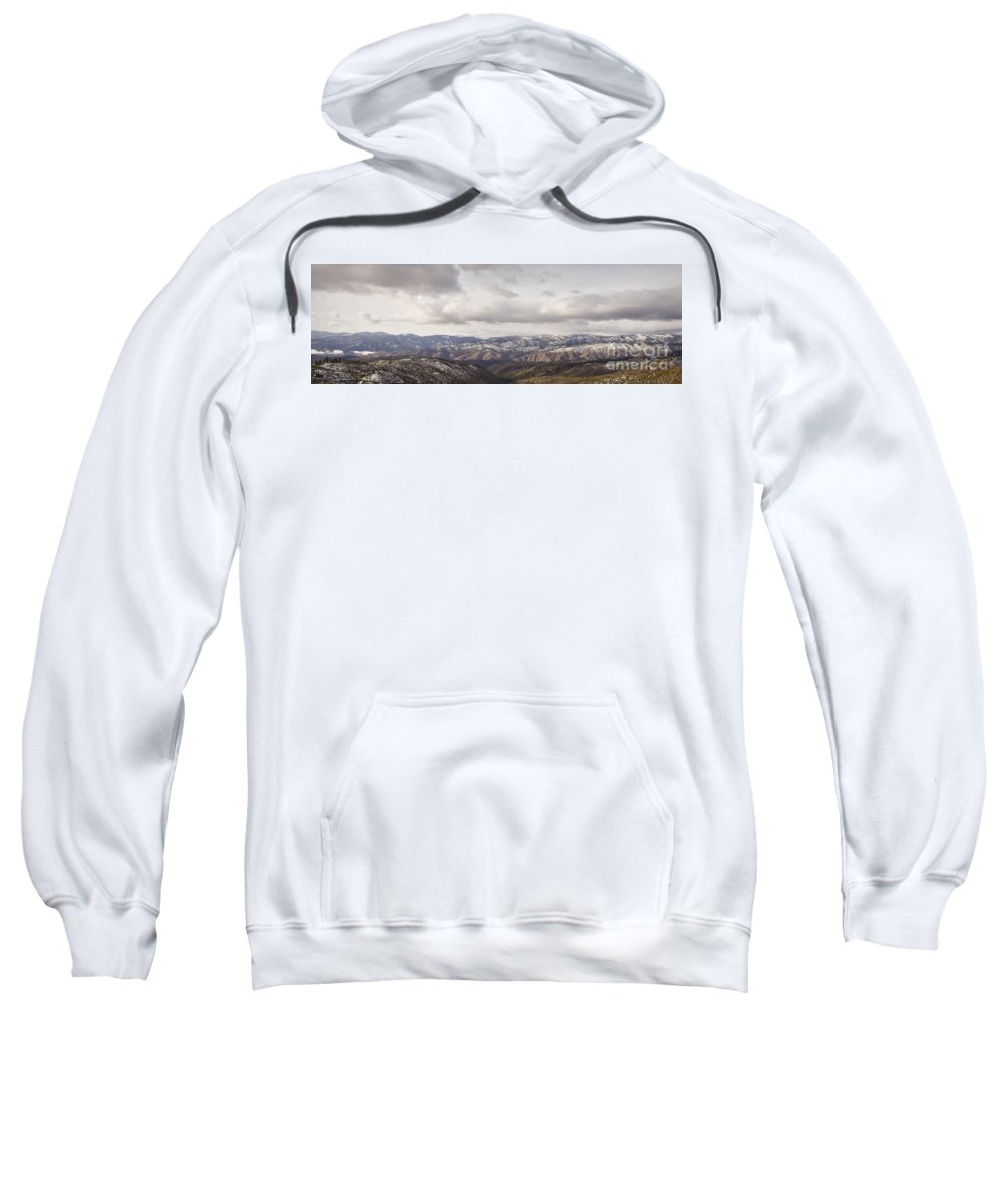 Panorama Sweatshirt featuring the photograph Cascade Panorama by Andrea Goodrich