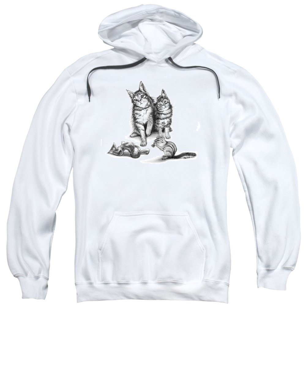 Cat Chips Sweatshirt featuring the drawing Cat Chips by Peter Piatt