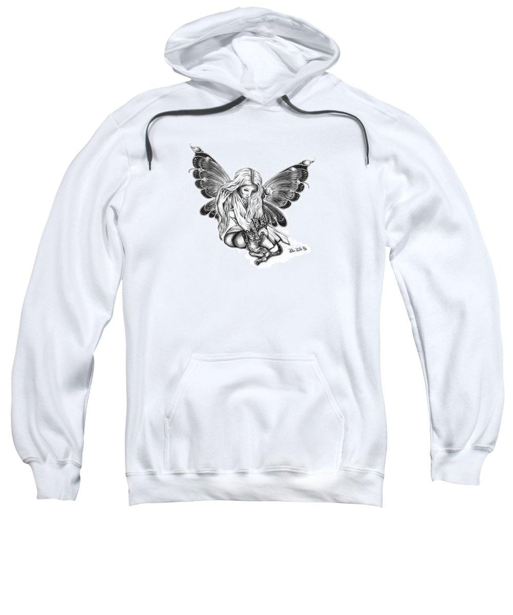 Cat Fairy Sweatshirt featuring the drawing Cat Fairy by Peter Piatt