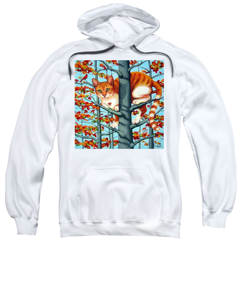 Rebecca Korpita Sweatshirt featuring the painting Orange Cat In Tree Autumn Fall Colors by Rebecca Korpita