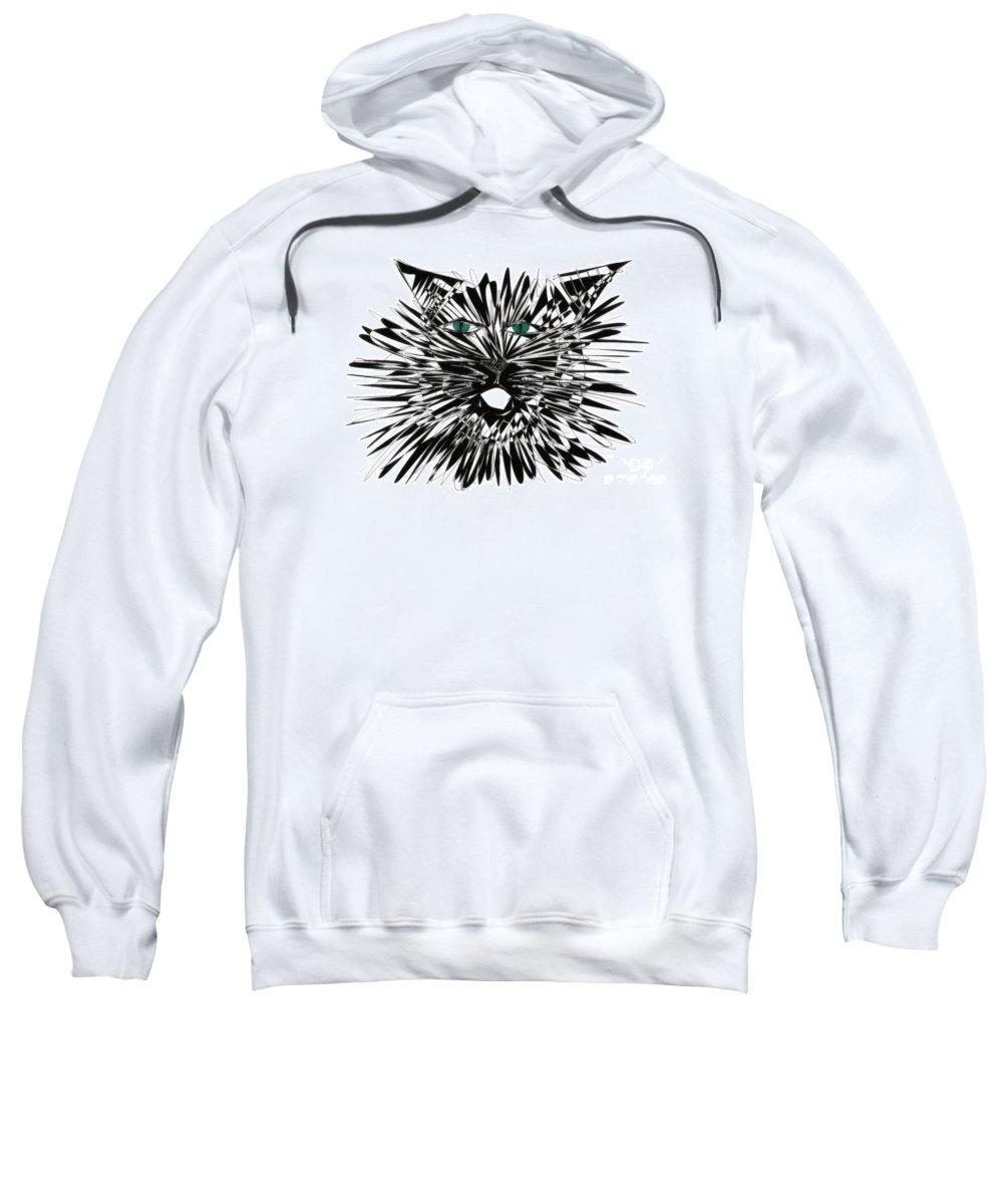 Cat Art Sweatshirt featuring the drawing Cat Iwan by Justyna JBJart