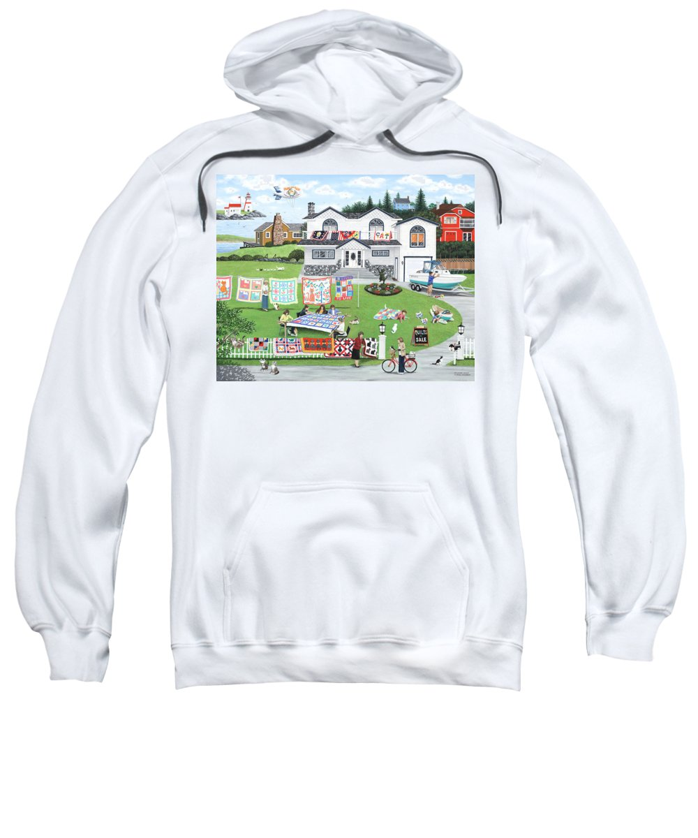 Naive Sweatshirt featuring the painting Cat Lovers Society by Wilfrido Limvalencia
