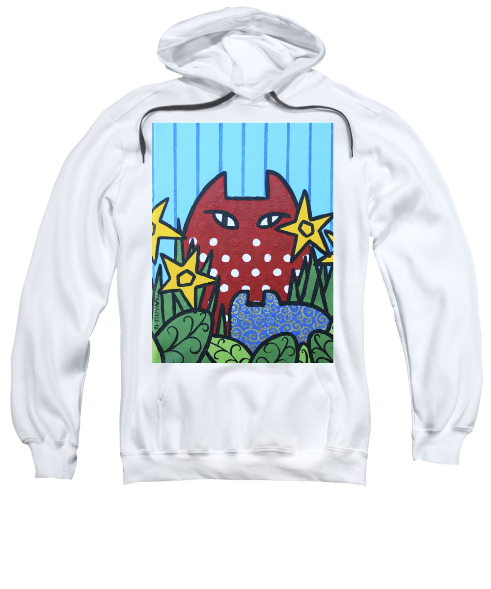 Cats Sweatshirt featuring the painting Cats 3 by Trudie Canwood