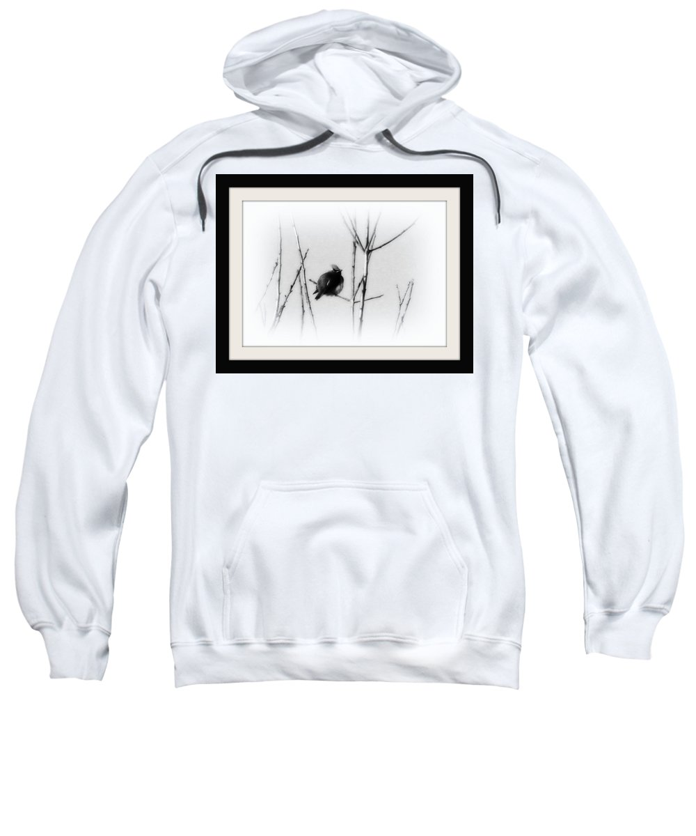 Cedar Waxwing Sweatshirt featuring the photograph Cedar Waxwing - Black And White by Travis Truelove