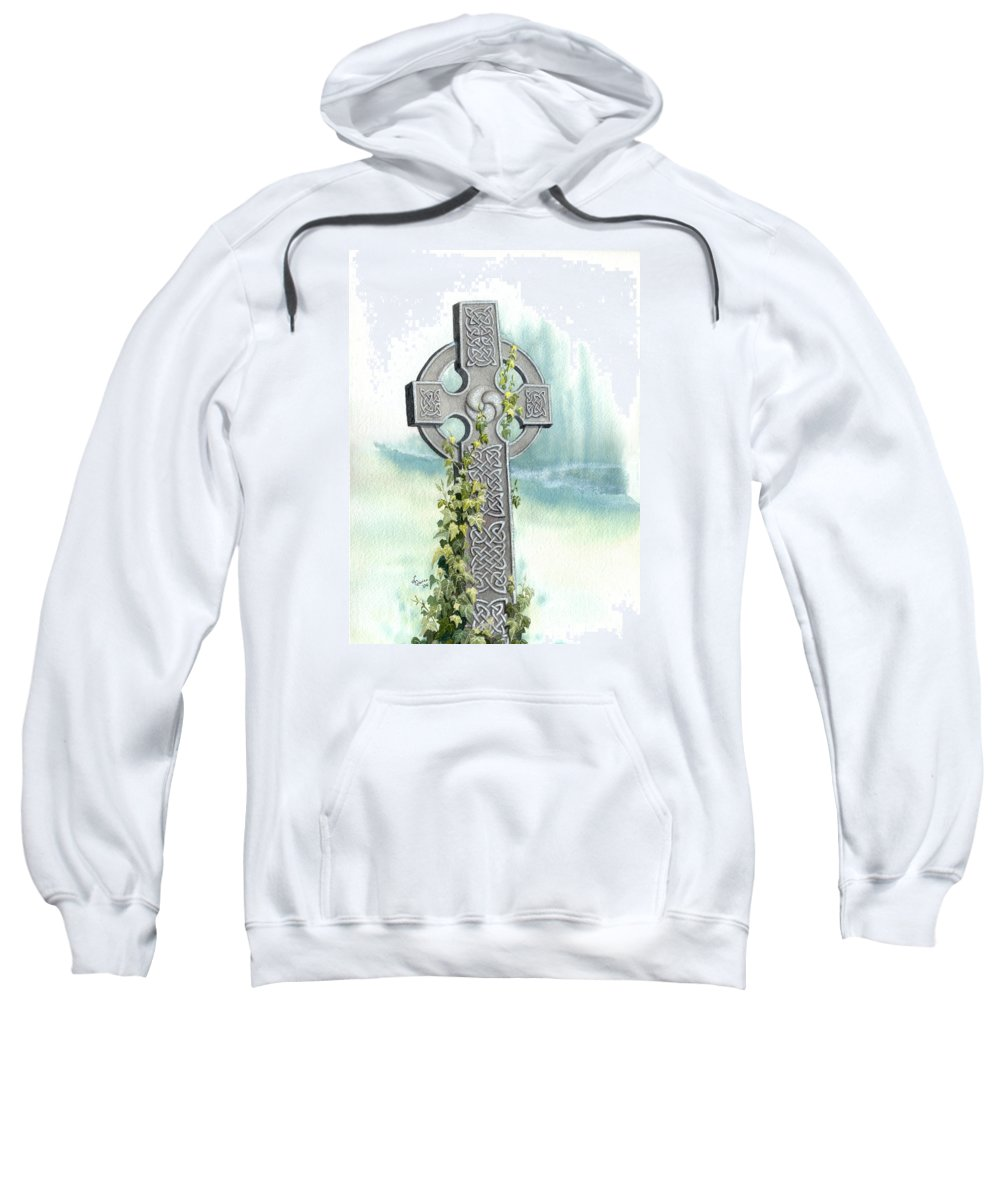 Celtic Cross Sweatshirt featuring the painting Celtic Cross With Ivy II by Lynn Quinn