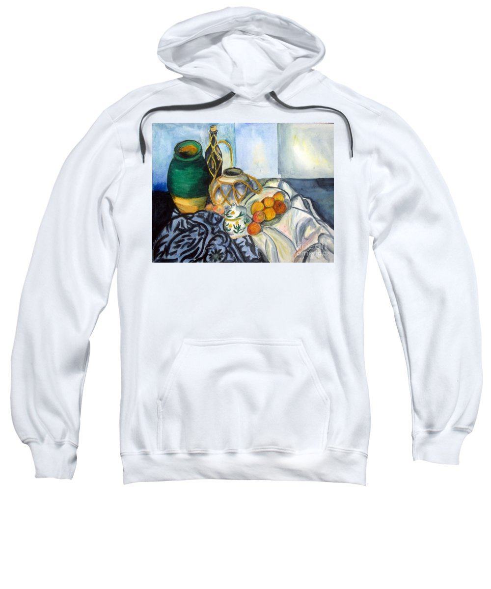 Art Sweatshirt featuring the painting Cezanne Still Life With Apples In Watercolor by Donna Walsh