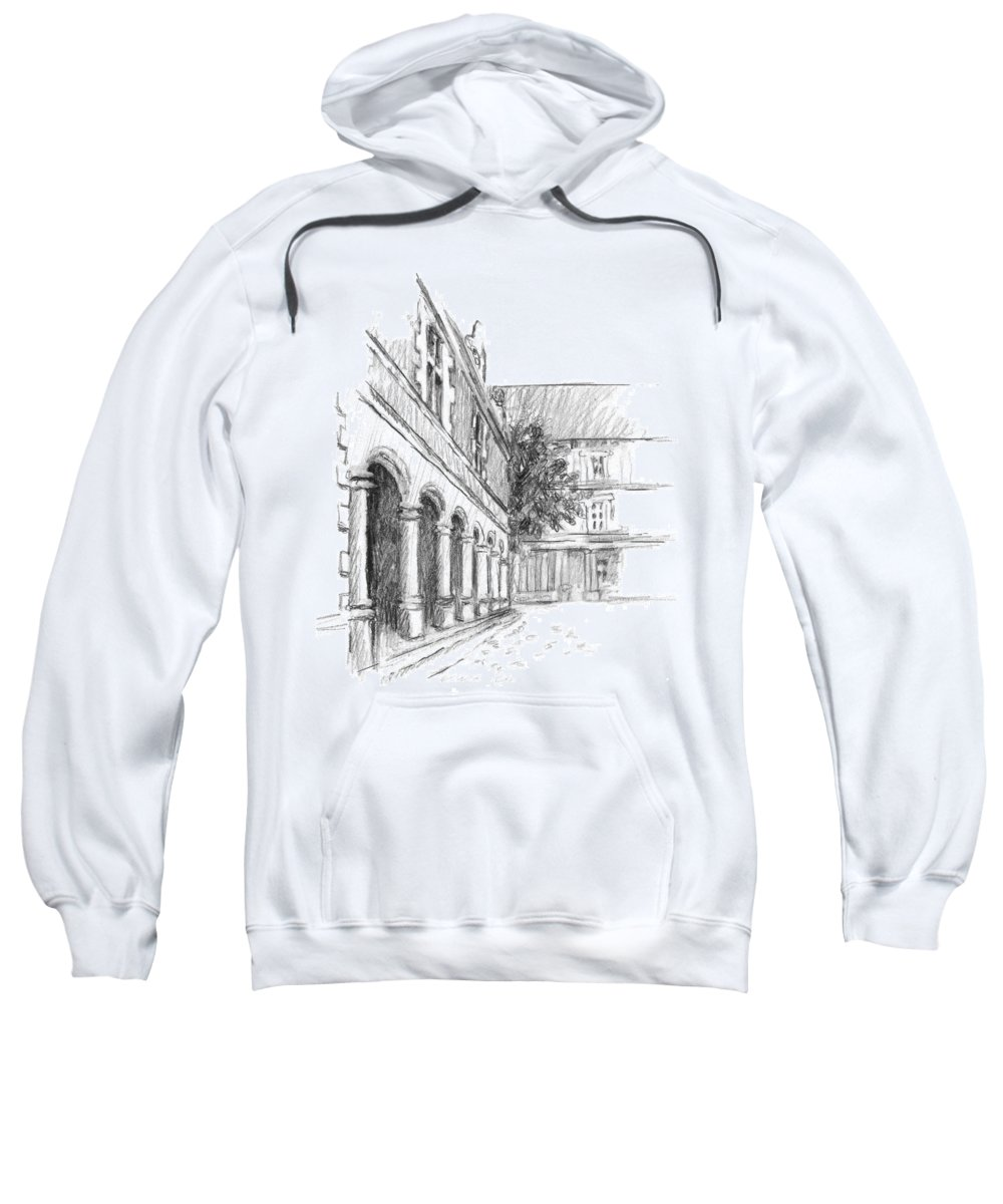 Castle Sweatshirt featuring the drawing Chambord Courtyard by Sarah Parks
