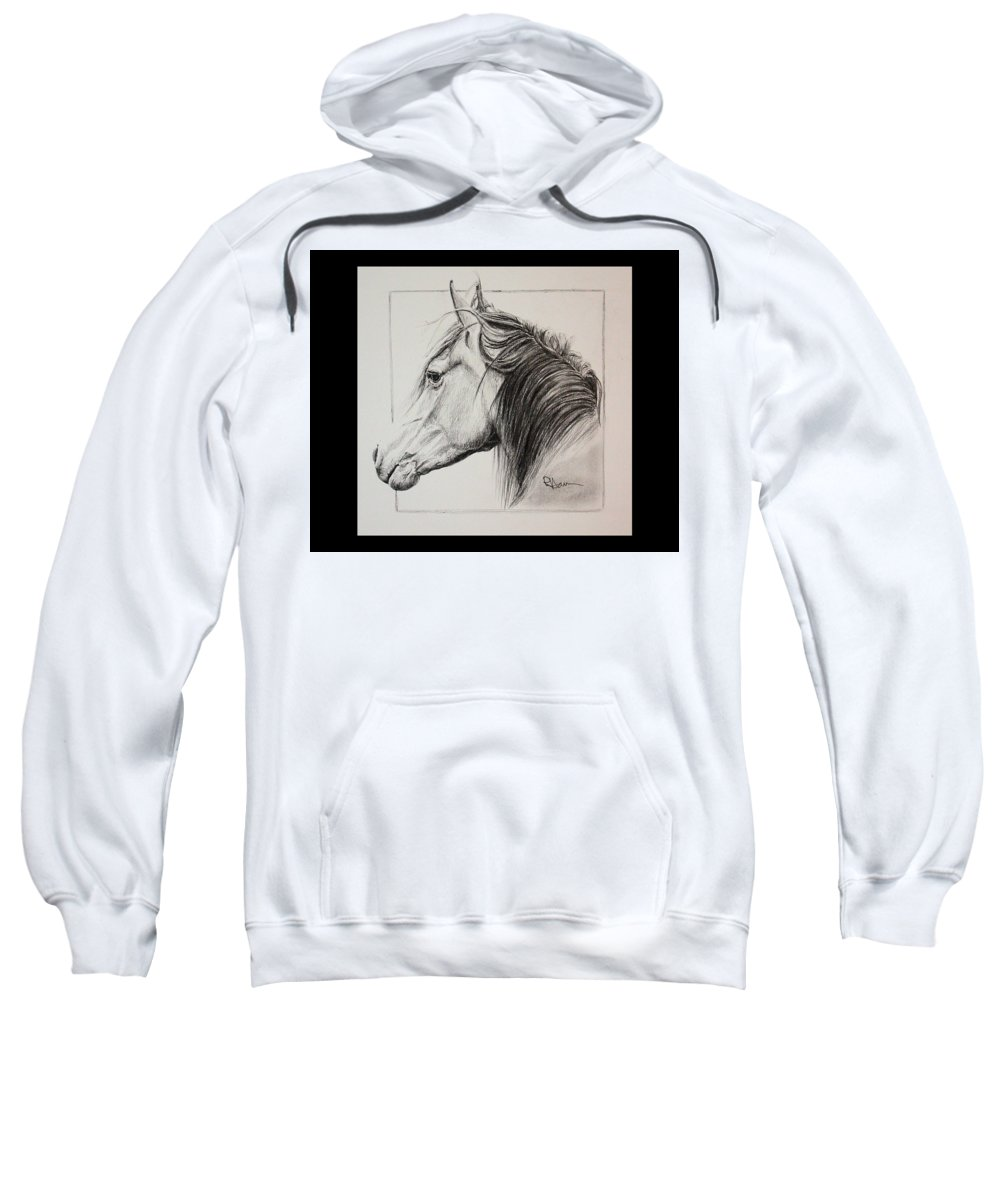 Horse Portrait Sweatshirt featuring the drawing Champion by Rachel Hames