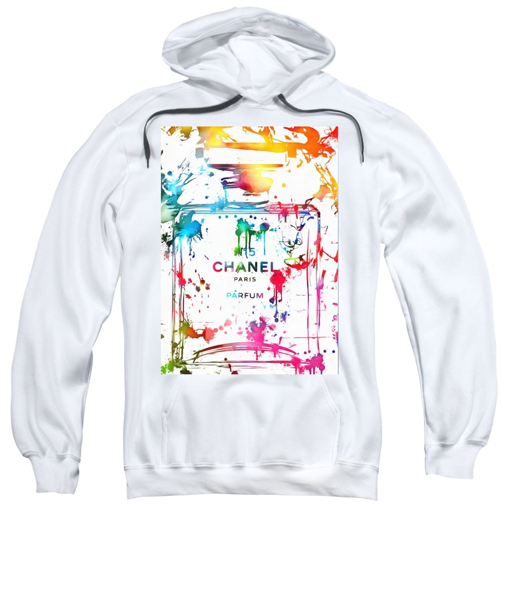 Chanel Number Five Paint Sweatshirt featuring the painting Chanel Number Five Paint Splatter by Dan Sproul