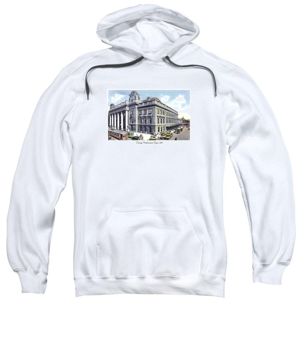 Chicago Sweatshirt featuring the digital art Chicago Illinois - Northwestern Railroad Station - 1927 by John Madison