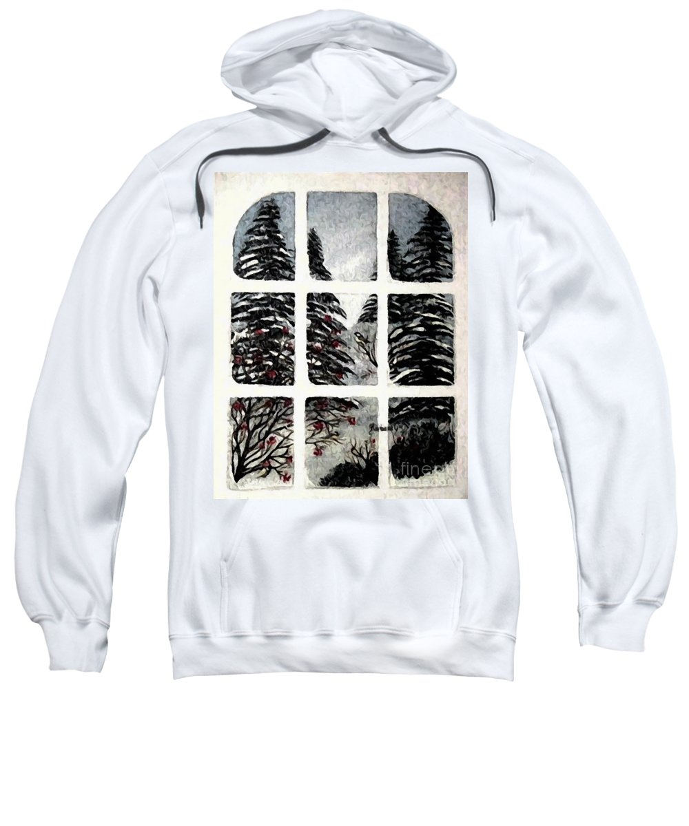 Chickadees And Dogberries Abstraction Sweatshirt featuring the photograph Chickadees And Dogberries Abstraction by Barbara Griffin