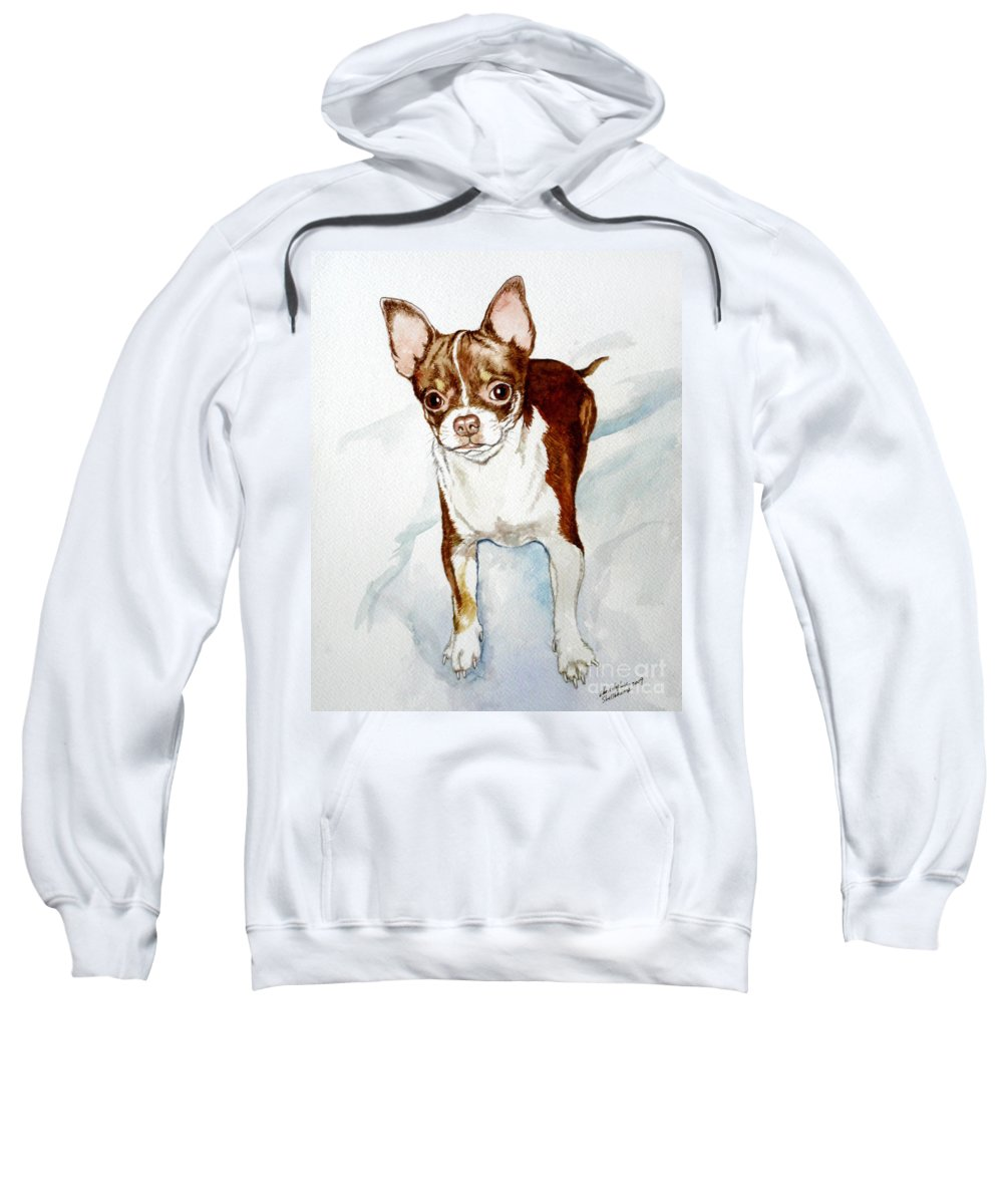 Dog Sweatshirt featuring the painting Chihuahua White Chocolate Color. by Christopher Shellhammer
