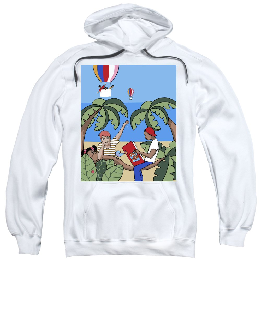 Sea Sweatshirt featuring the painting Children 1 by Trudie Canwood