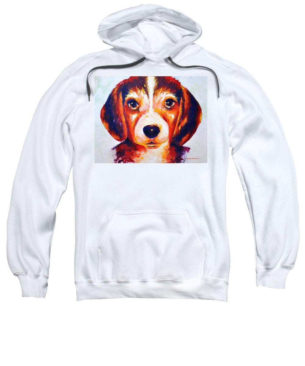 Beagle Sweatshirt featuring the painting Chloe by Heather Hancock