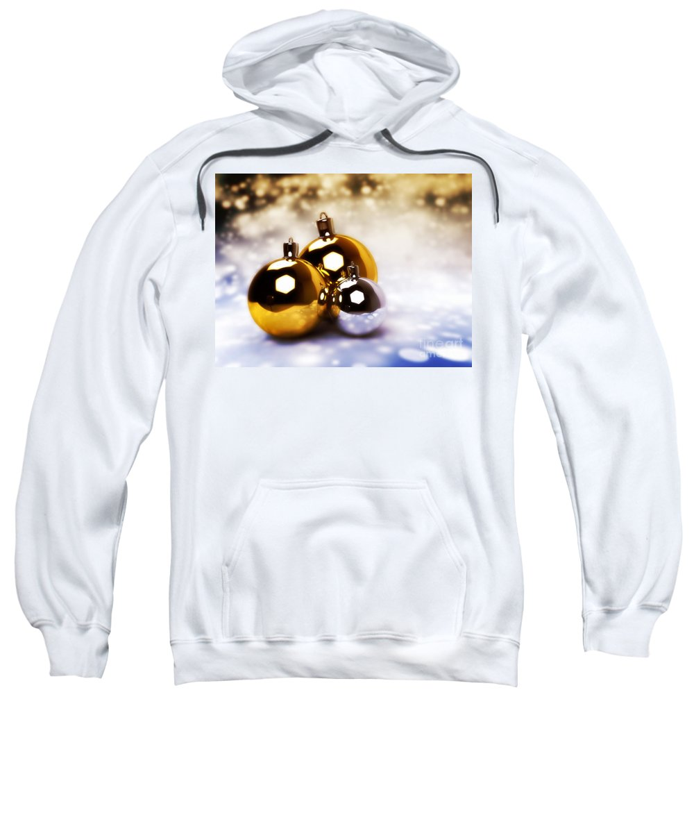 Christmas Sweatshirt featuring the photograph Christmas Balls Gold Silver by Michal Bednarek