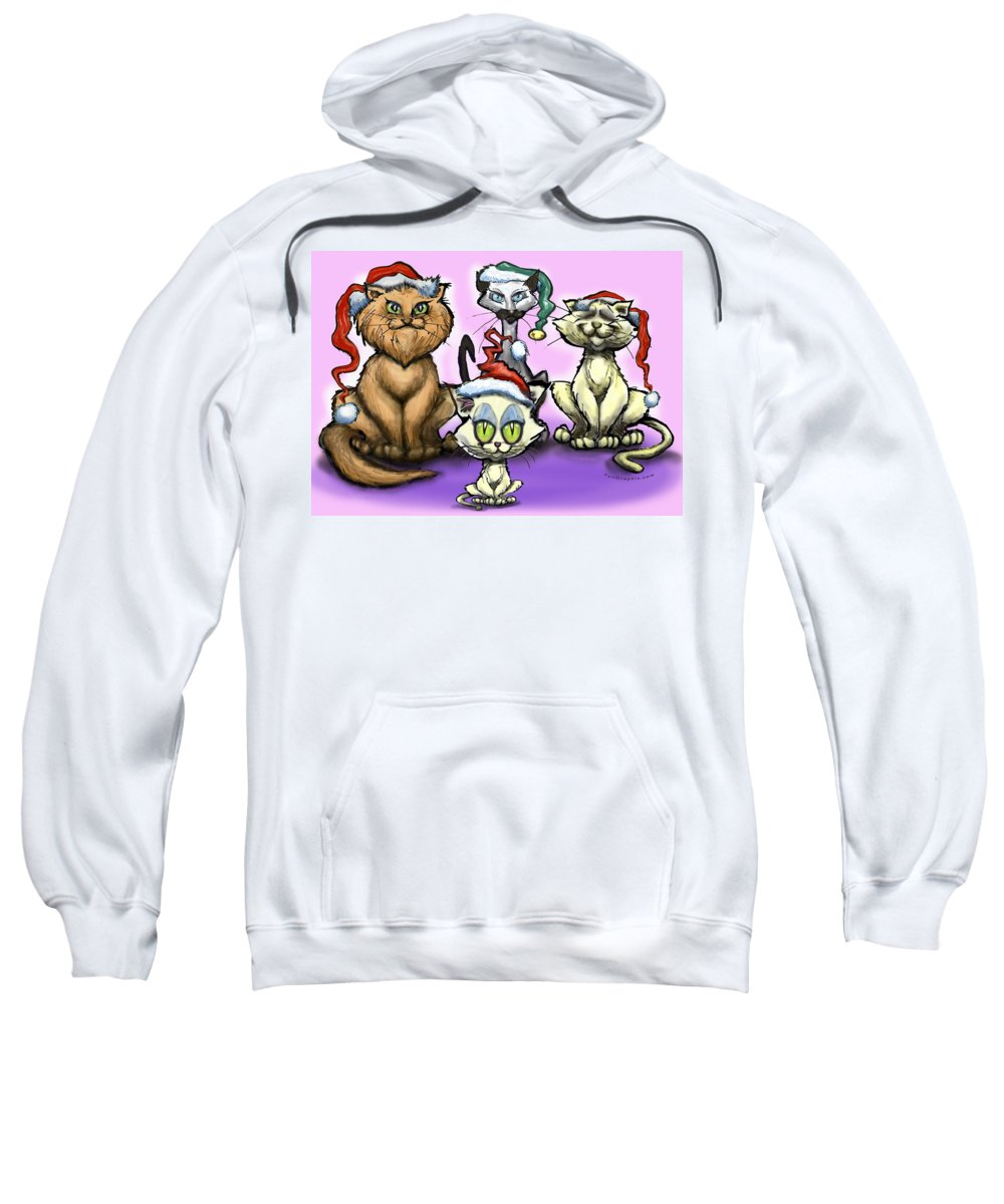 Christmas Sweatshirt featuring the painting Christmas Cats by Kevin Middleton