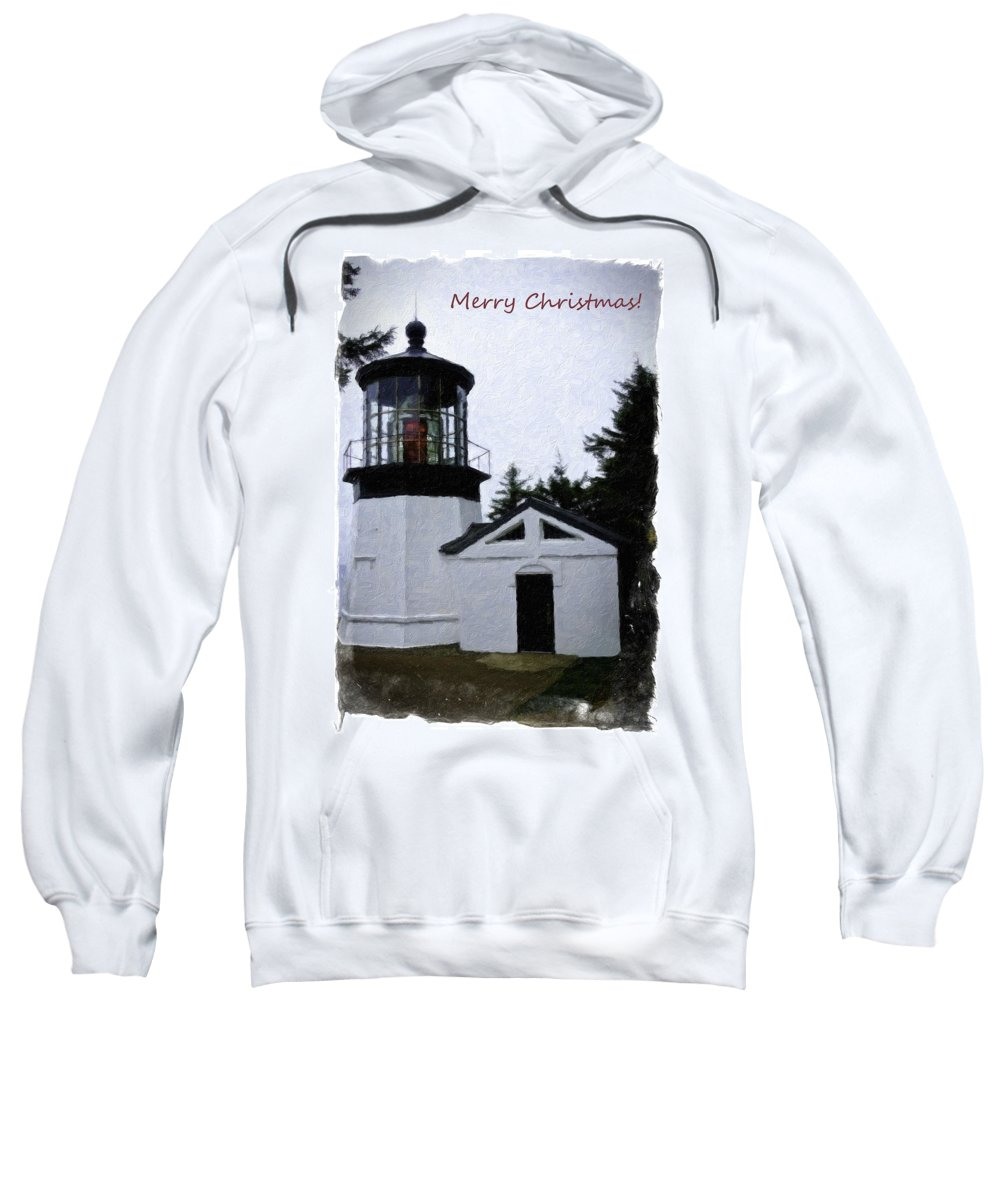Pacific City Sweatshirt featuring the photograph Christmas Time At Cape Meares Lighthouse by Image Takers Photography LLC - Veranda Haddon
