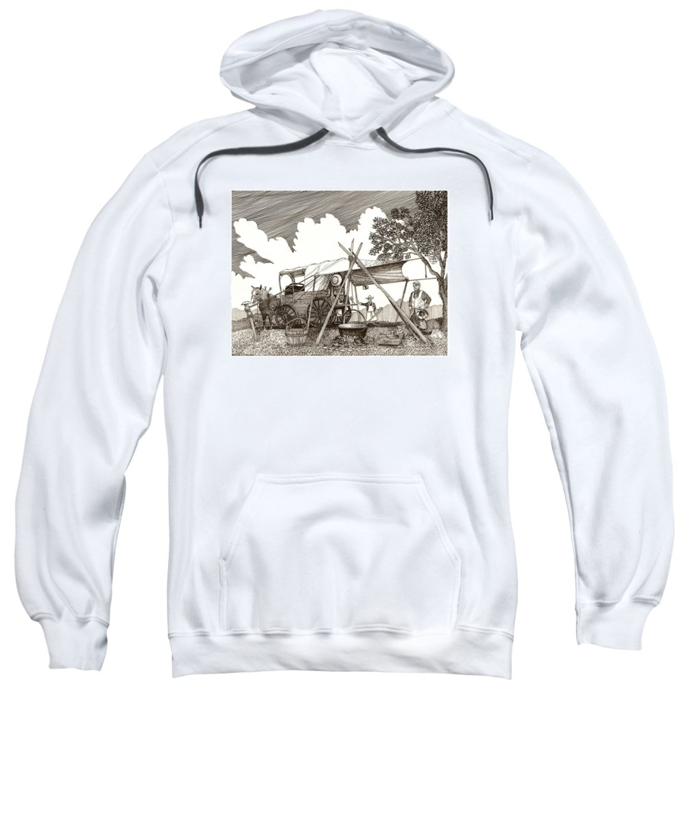 Pen & Ink By Jack Pumphrey Of Cattle Drive Chuckwagon Sweatshirt featuring the drawing Chuckwagon Cattle Drive Breakfast by Jack Pumphrey