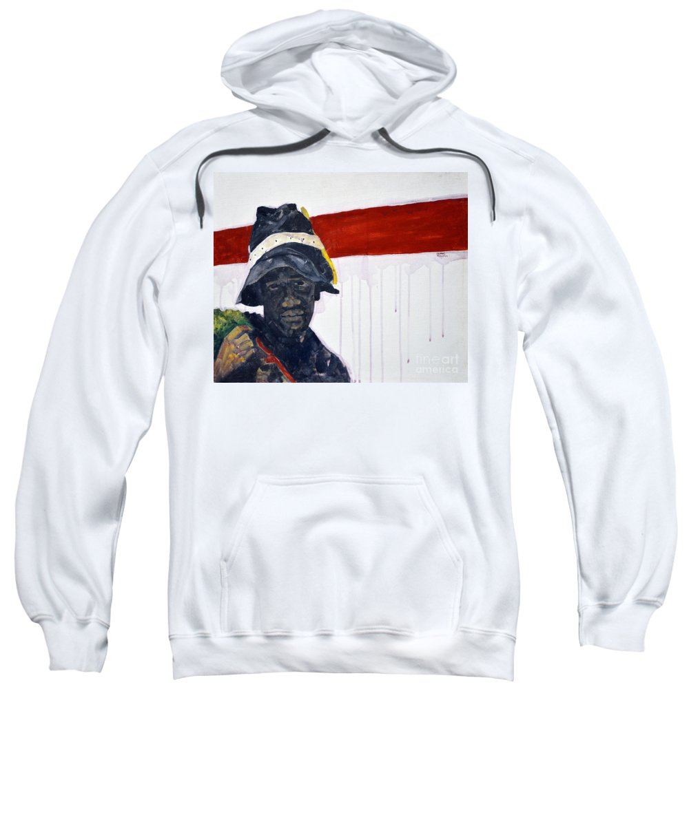 Man Sweatshirt featuring the painting Church Street Bootblack				 by Charles M Williams