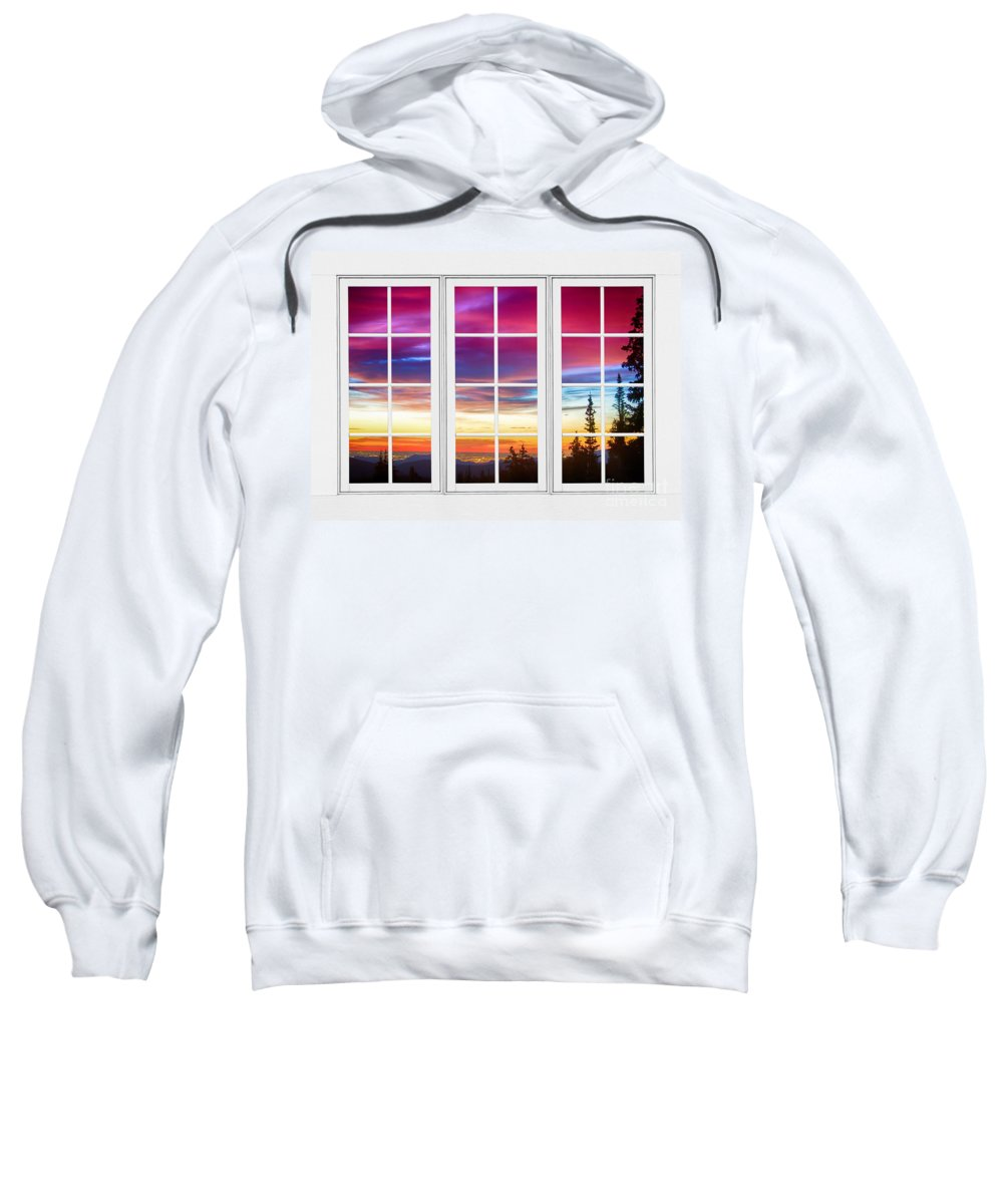 Window To Nature Sweatshirt featuring the photograph City Lights Sunrise View Through White Window Frame by James BO Insogna