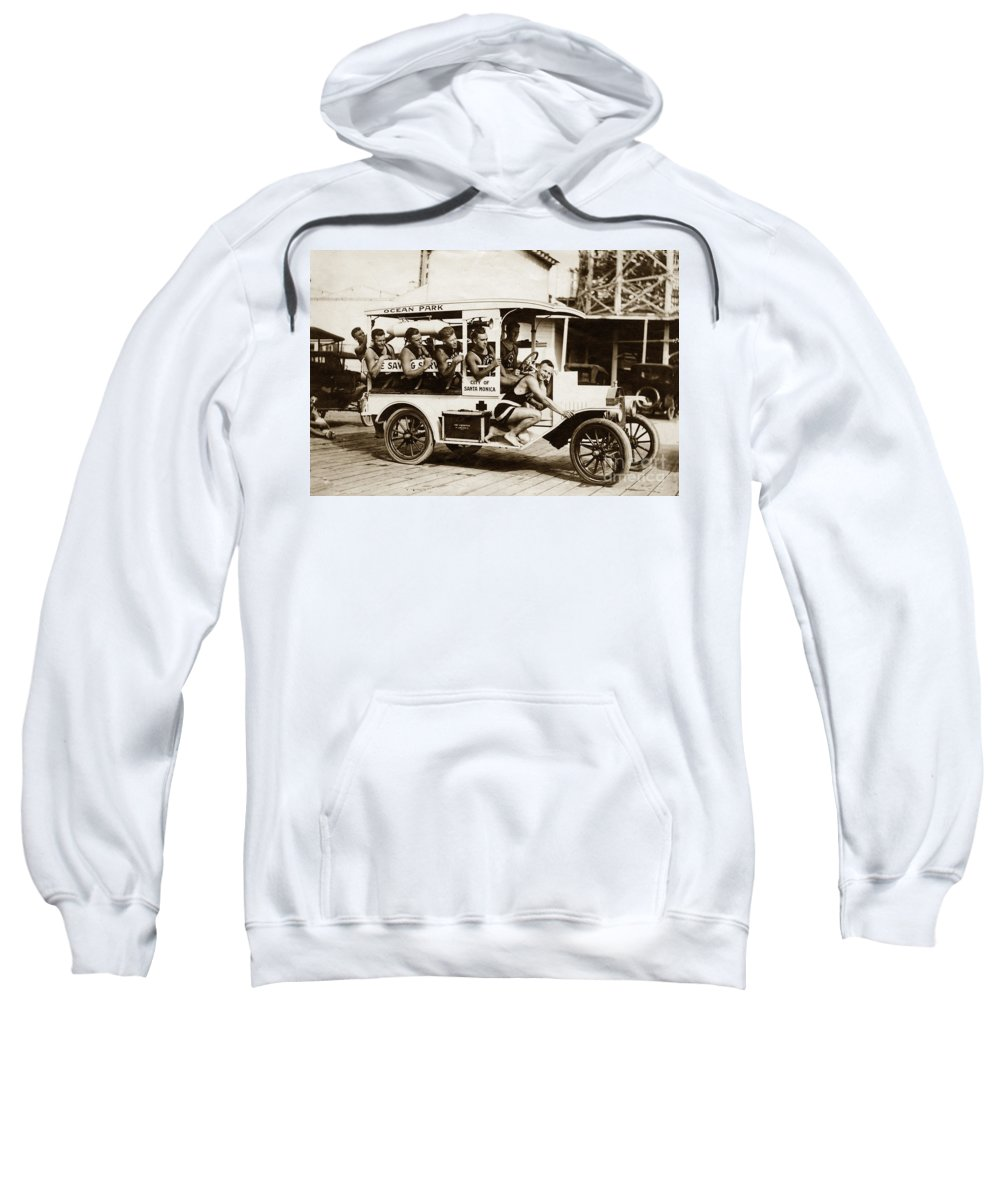 City Of Sweatshirt featuring the photograph City Of Santa Monica Life Saveing Service Ocean Park Circa 1917 by California Views Archives Mr Pat Hathaway Archives