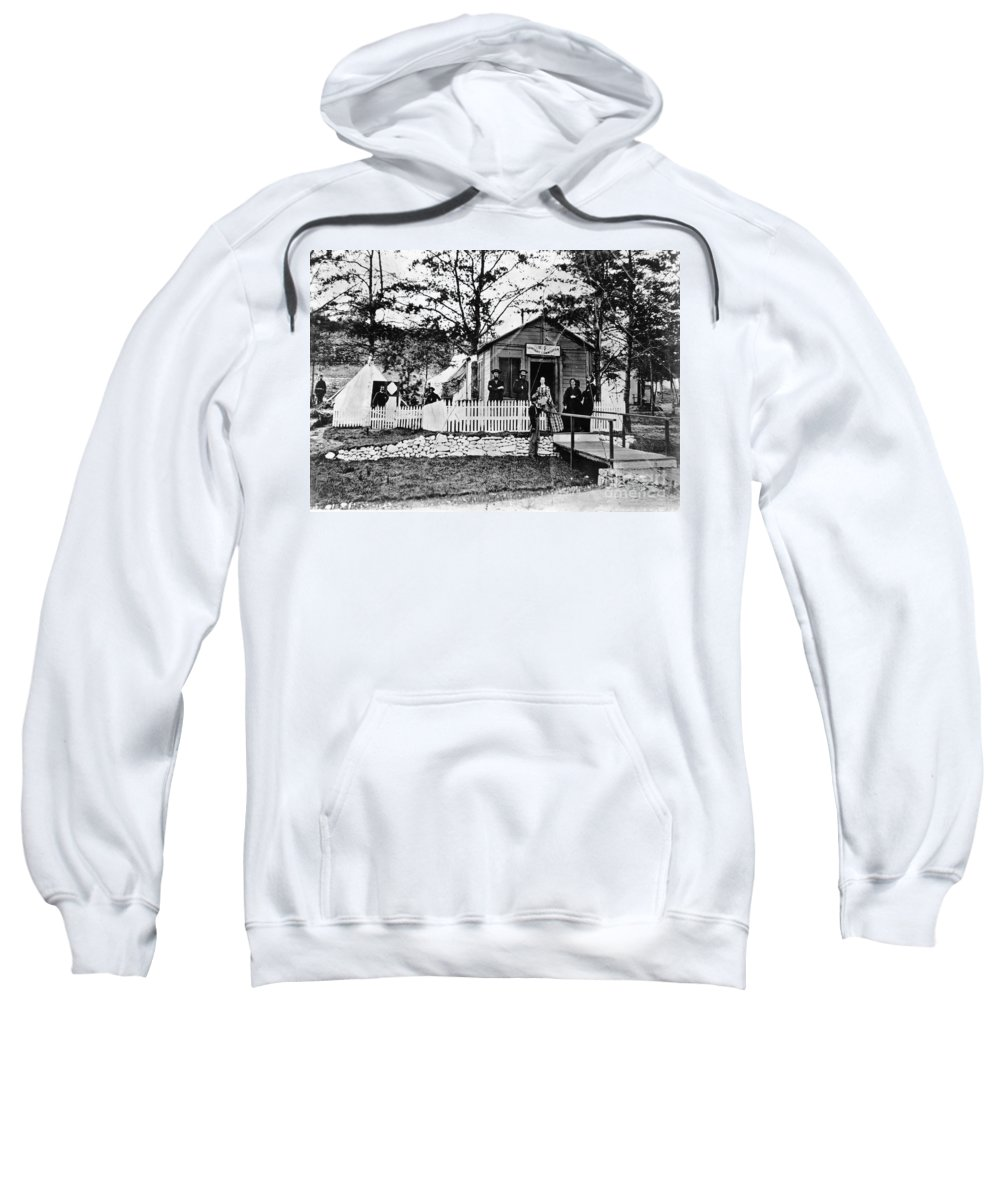 1863 Sweatshirt featuring the photograph Civil War: Military Hospital by Granger