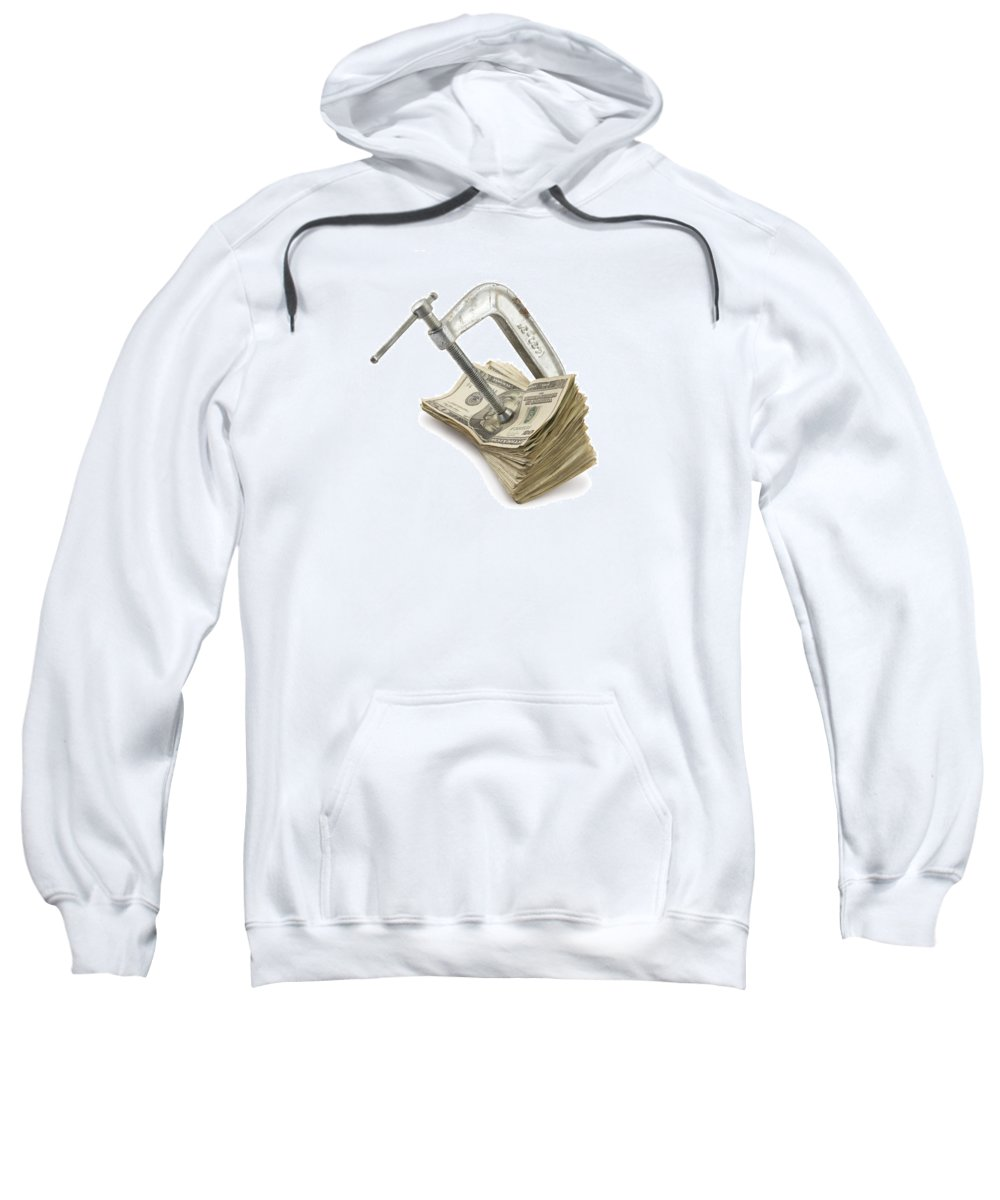 Money Sweatshirt featuring the photograph Clamp Putting Pressure On American Money Concept by Keith Webber Jr
