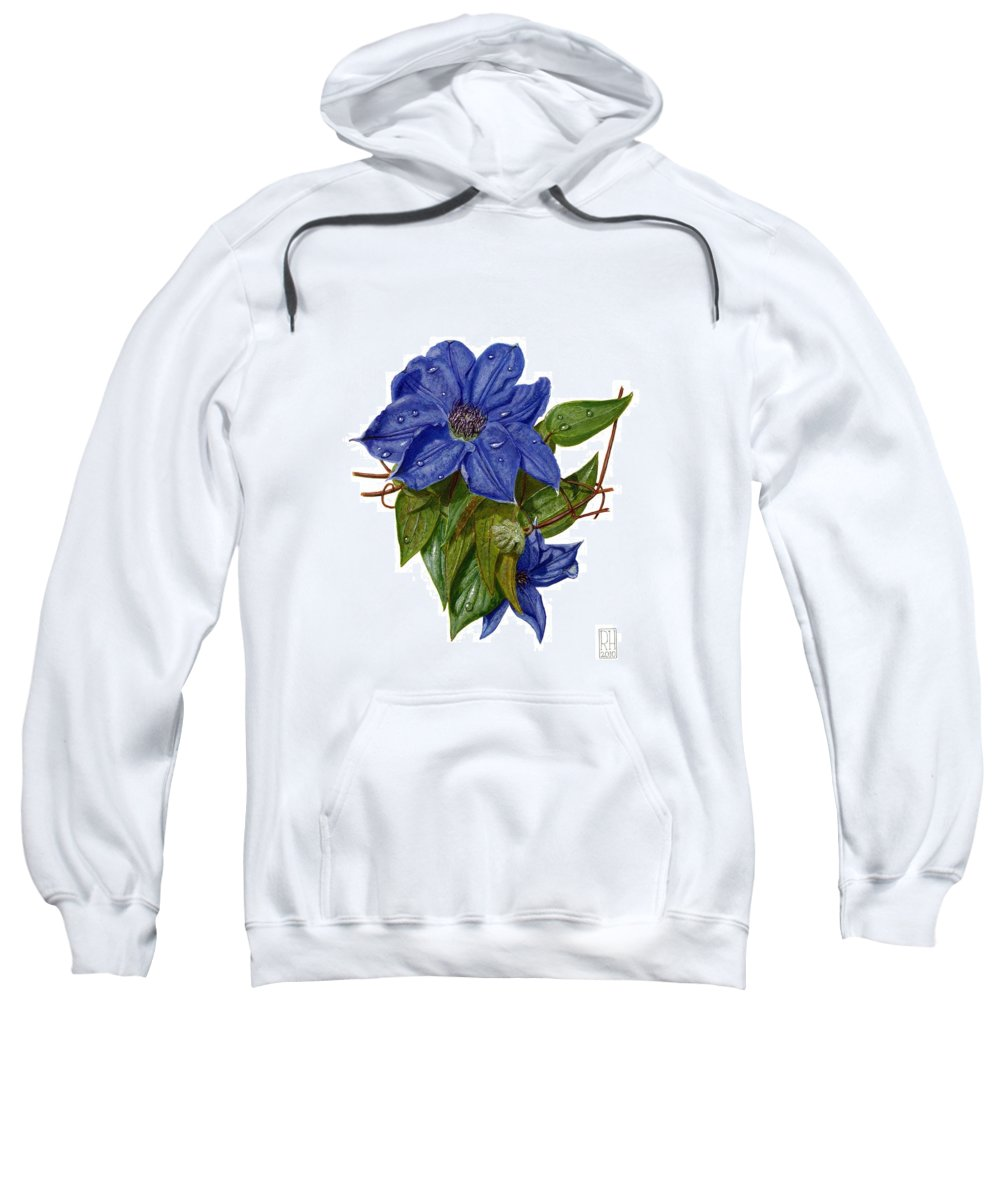 Clematis Sweatshirt featuring the painting Clematis by Richard Harpum