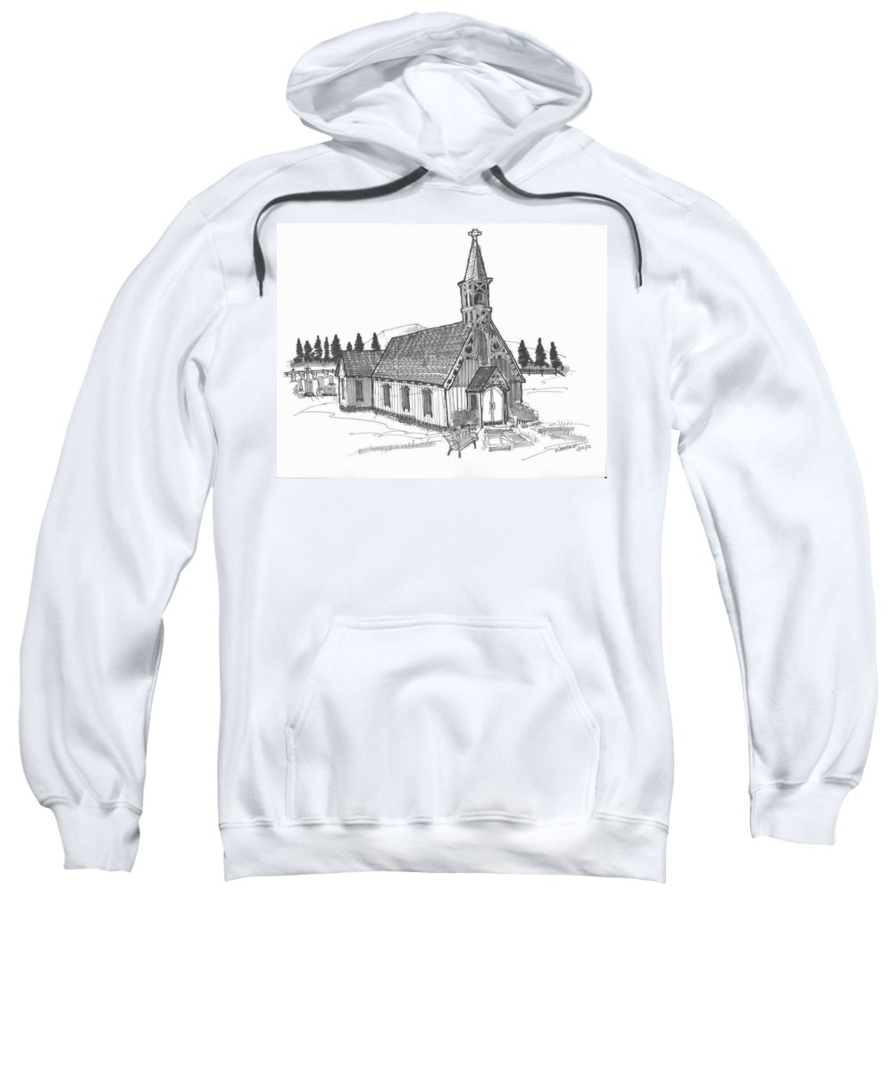Church Sweatshirt featuring the drawing Clermont Chapel by Richard Wambach