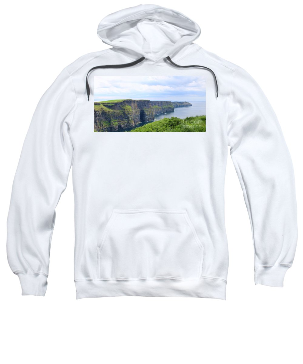 Cliffs Of Moher Sweatshirt featuring the photograph Cliffs Of Moher Panorama 3 by Jack Schultz