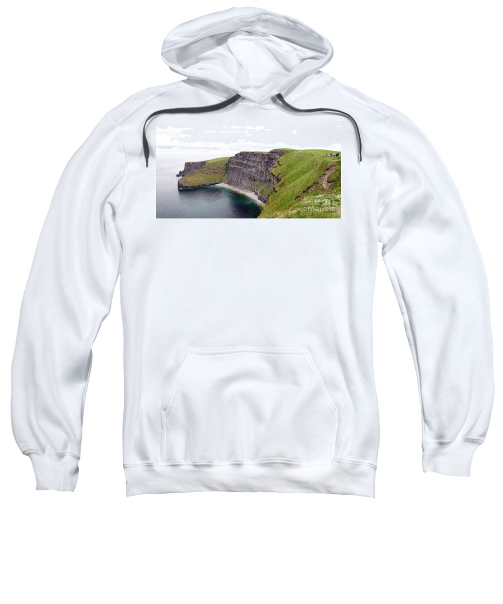 Cliffs Of Moher Sweatshirt featuring the photograph Cliffs Of Moher Panorama 1 by Jack Schultz