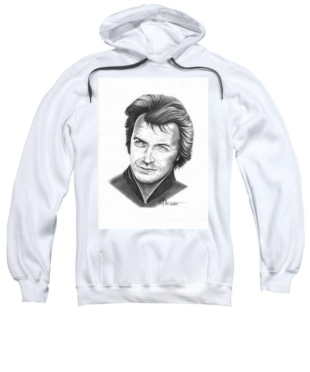 Portrait Sweatshirt featuring the drawing Clint Eastwood by Murphy Elliott