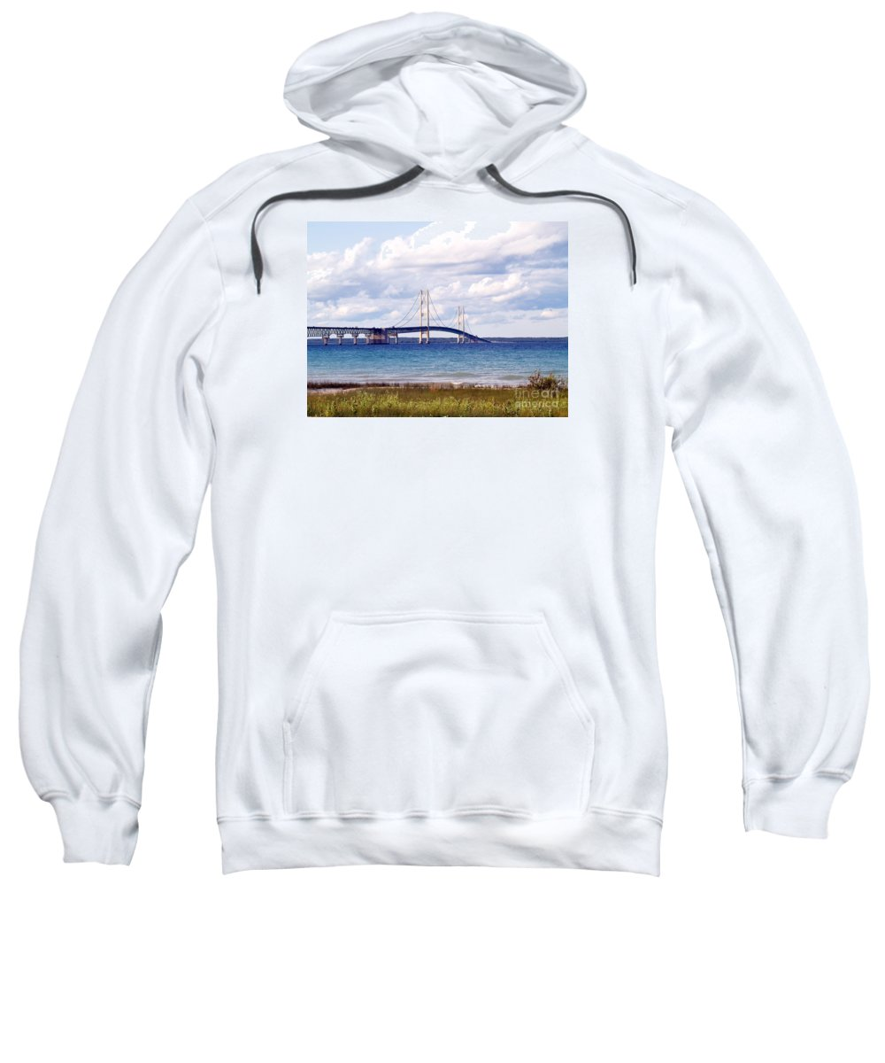 Bridge Sweatshirt featuring the photograph Clouds Over Mackinaw by Melissa McDole