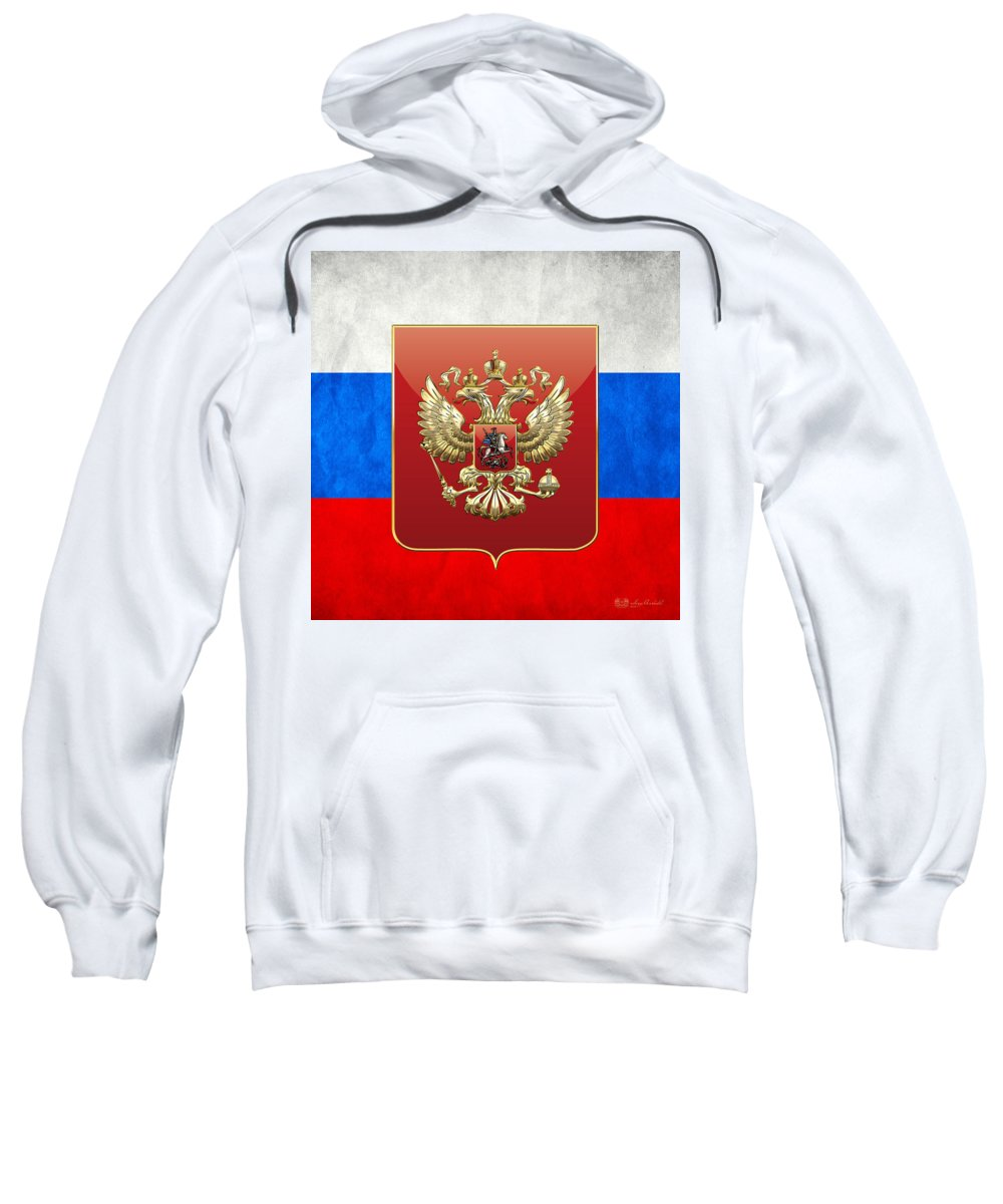 C7 World Heraldry 3d Sweatshirt featuring the digital art Coat Of Arms And Flag Of Russia by Serge Averbukh