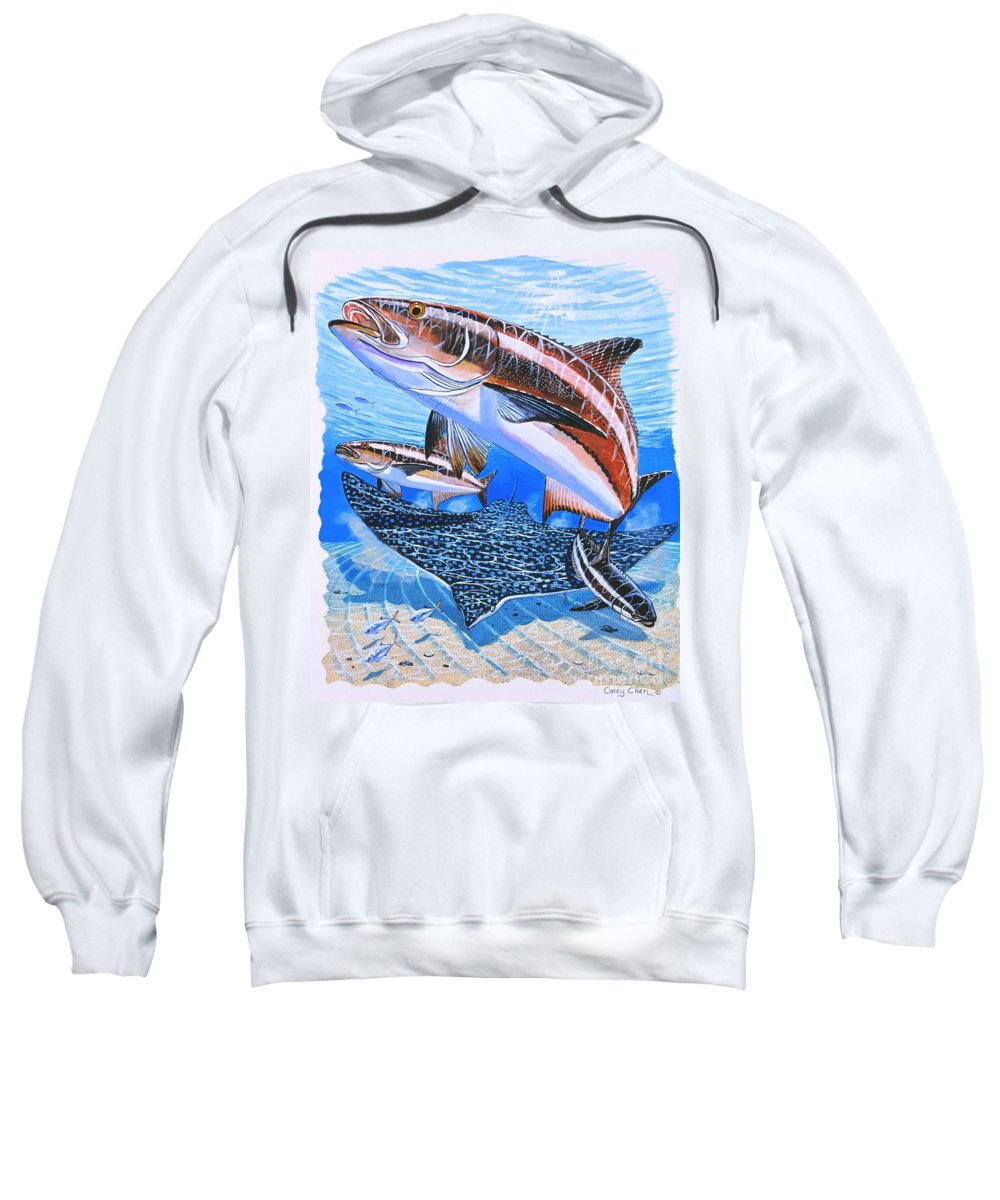 Cobia Sweatshirt featuring the painting Cobia On Rays by Carey Chen