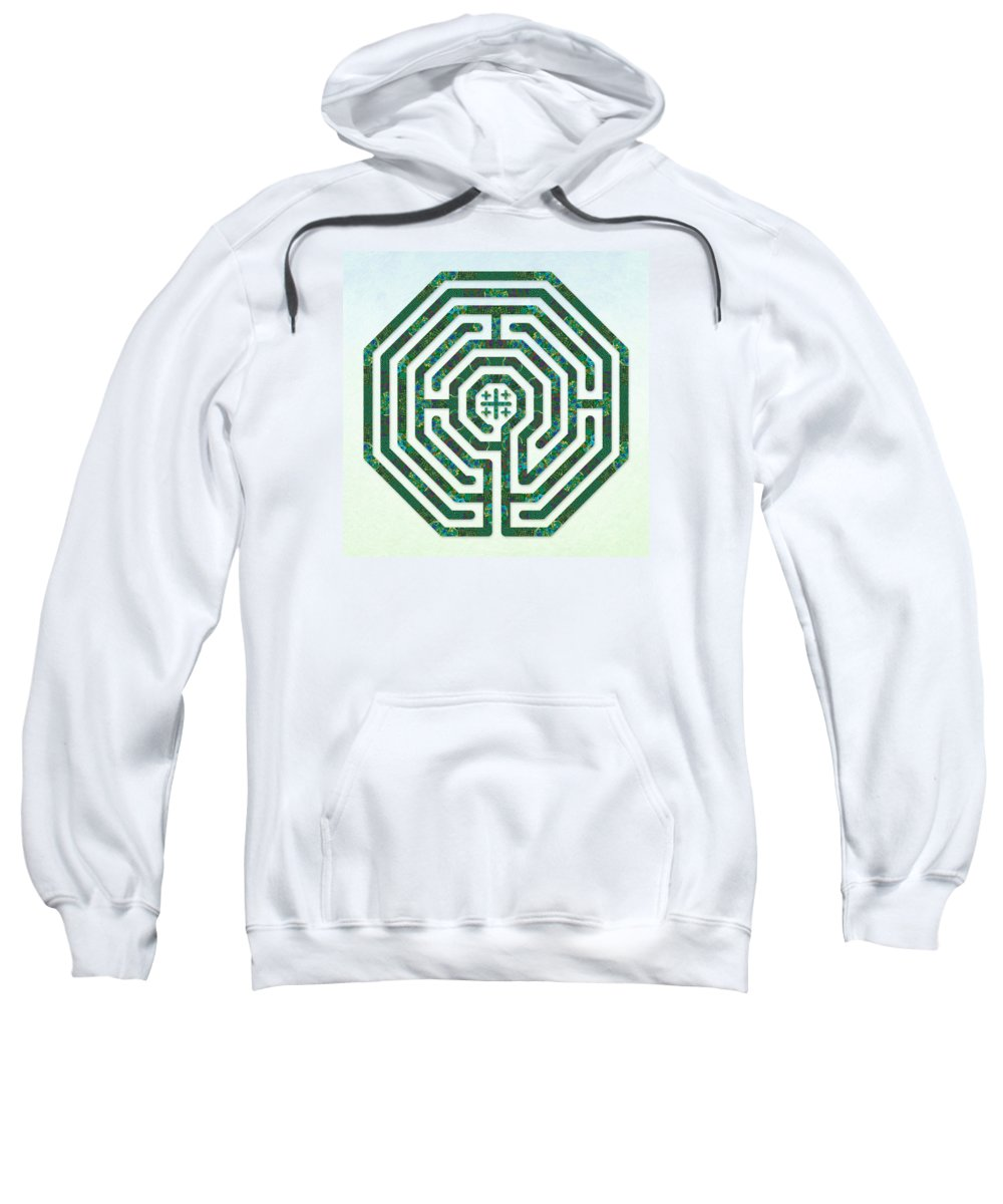 Labyrinth Art Sweatshirt featuring the digital art Cologne - Origami Paper by Fine Art Labyrinths